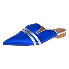 Malone Souliers Blue Satin Hermoine Flats Size 35.5