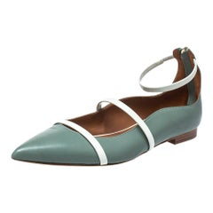 Malone Souliers Blue/White Patent And Leather Robyn Flats Size 39.5