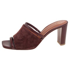 Malone Souliers Brown Leather And Suede Slide Sandals Size 38