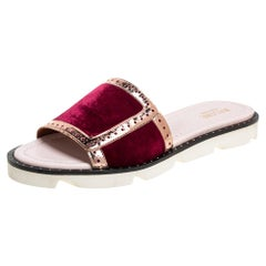 Malone Souliers Burgundy Velvet And Leather Slide Sandals Size 36.5