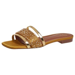 Malone Souliers Gold/Mustard Satin Rosa Crystal Slide Sandals Size 36.5