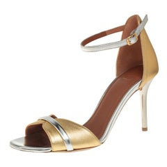 Malone Souliers Gold/Silver Leather Miranda Ankle Strap Sandals Size 37