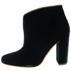 Malone Souliers Green Velvet Eula Boots Size 36.5