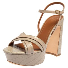 Malone Souliers Grey Croc Embossed Leather Mila Ankle Strap Sandals Size 39