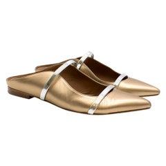 Malone Souliers Metallic Gold Maureen Flats SIZE 39