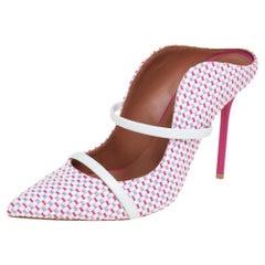 Malone Souliers Multicolor Raffia Trim Maureen Pointed Toe Mules Size 38.5
