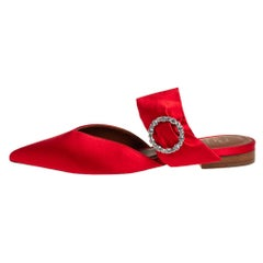 Malone Souliers Red Satin Maite Crystal Buckle Flats Size 36