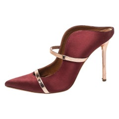 Malone Souliers Satin Burgundy Maureen Pointed Toe Mules Size 40.5