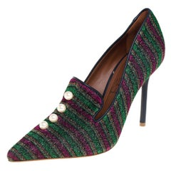 Malone Souliers x Natalia Vodianova Multicolor Knit Fabric Loafer Pumps Size 37