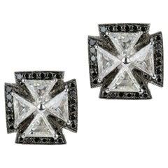 Maltese Cross 18 Karat White Gold and Diamond Earrings