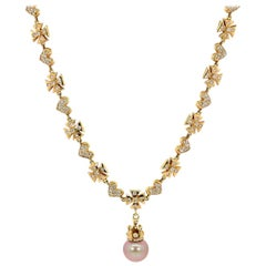 Maltese Cross Hearts and Pearl Gold Necklace