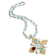 Maltese Intaglio Pendant, Aqua Quartz and Pearls Necklace, Catania II Necklace