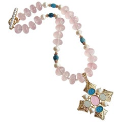 Maltese-Style Intaglio Pendant, Rose Quartz, Apatite, Pearls Choker Necklace