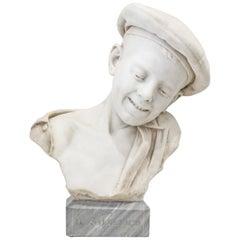 Maltoni 'Il Solletico' 'the tickle', Carved Carrara Marble