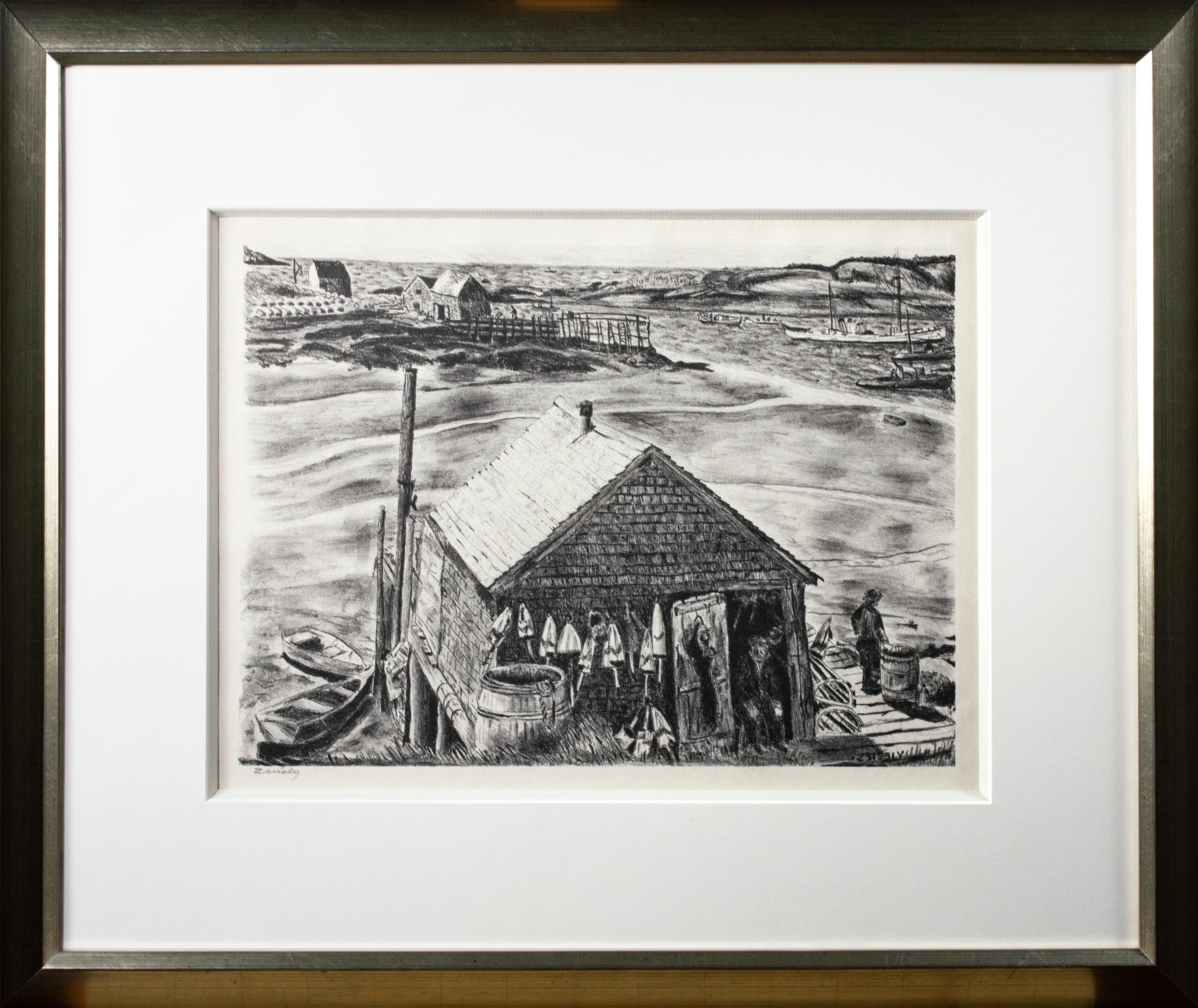 """'Lobsterman's Wharf, Maine' original lithograph signed by """"Zsissly"""" Albright"""