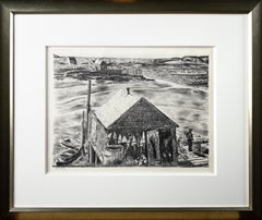 "'Lobsterman's Wharf, Maine' original lithograph signed by ""Zsissly"" Albright"