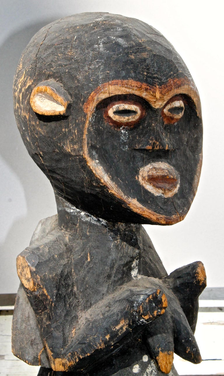 Carved Mambila Large Female Figure African Sculpture For Sale