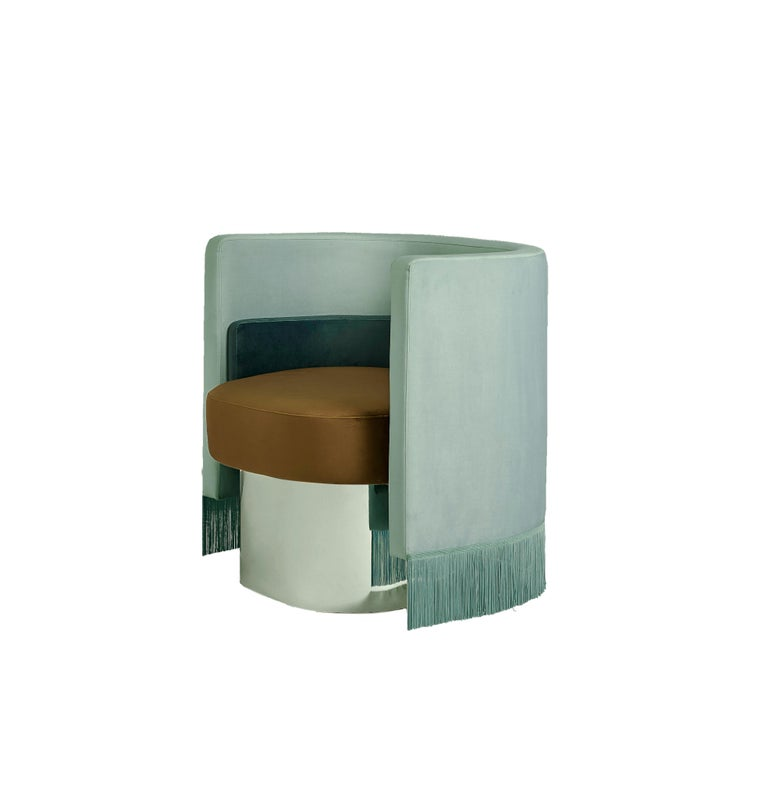 Mambo Green Armchair with Upholstery Velvet, Solid Wood and Metal Structure 3