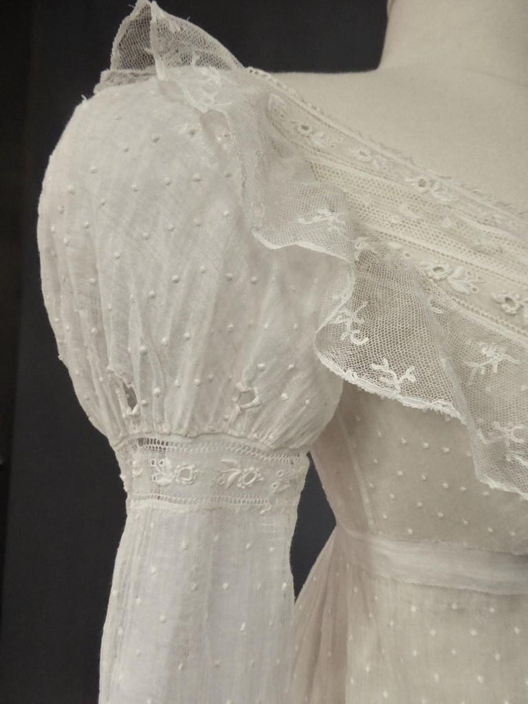 Mameluck Dress in Muslin and Embroidered Veil - First French Empire Circa 1810 For Sale 9