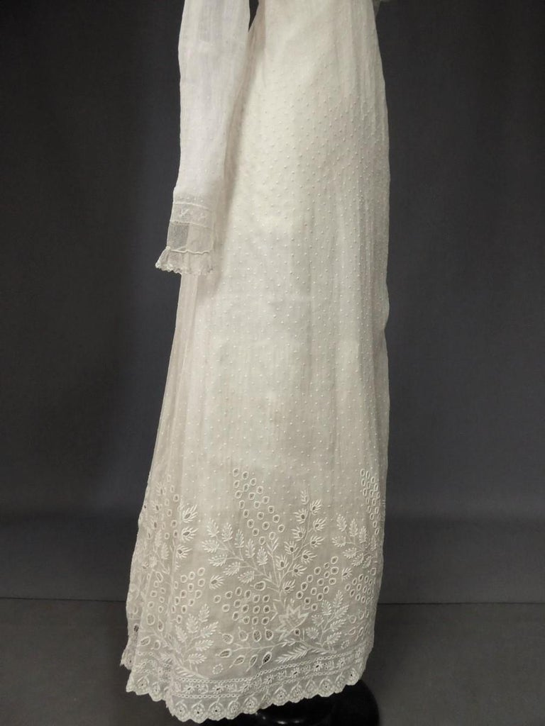 Mameluck Dress in Muslin and Embroidered Veil - First French Empire Circa 1810 For Sale 3