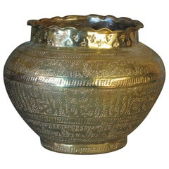 Mamluk Style Engraved and Punched Brass Jardinière Ottoman Syria or Egypt