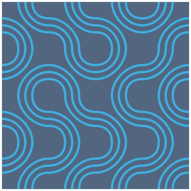 Modern Mamma Screen Printed Wallpaper in Azulado 'Bright Turquoise on Navy Blue' For Sale