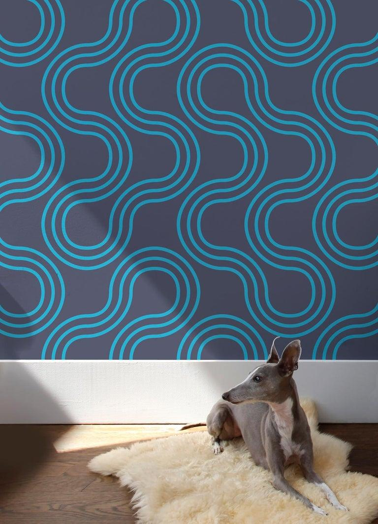 American Mamma Screen Printed Wallpaper in Azulado 'Bright Turquoise on Navy Blue' For Sale