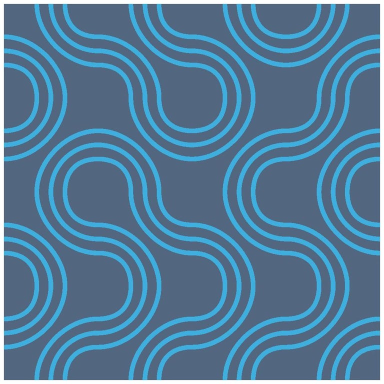 Mamma Screen Printed Wallpaper in Azulado 'Bright Turquoise on Navy Blue' For Sale