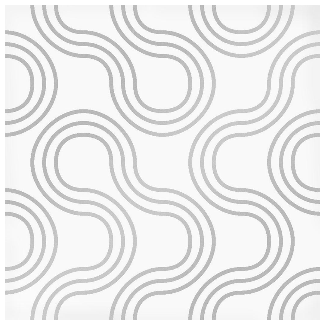 Mamma Designer Wallpaper in Glimmer 'Metallic Silver on Soft White'