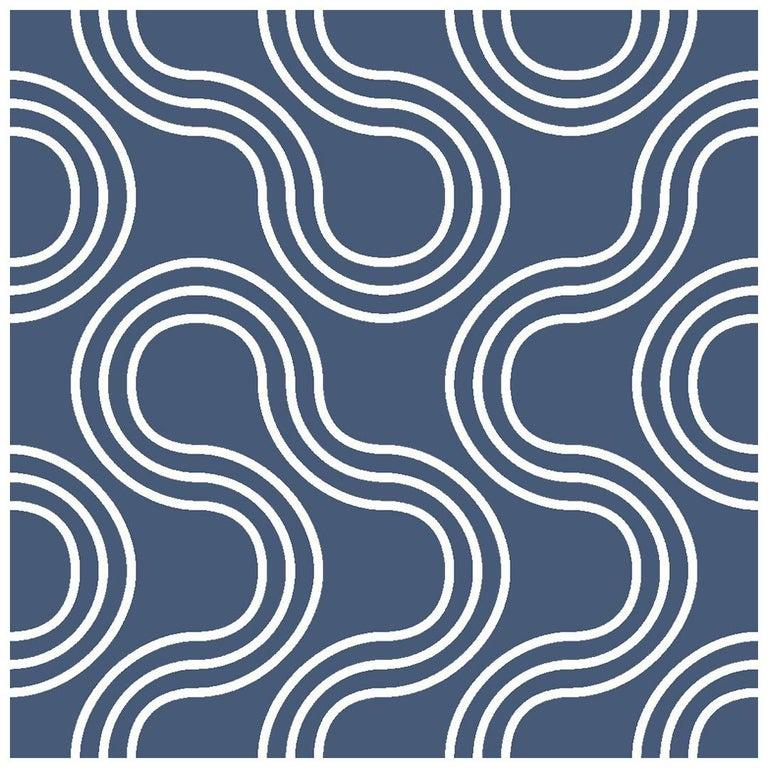 American Mamma Screen Printed Wallpaper in Maritime 'White on Navy Blue' For Sale