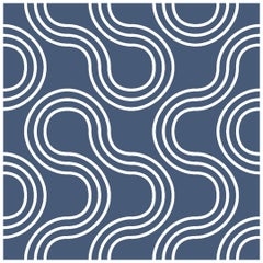 Mamma Screen Printed Wallpaper in Maritime 'White on Navy Blue'