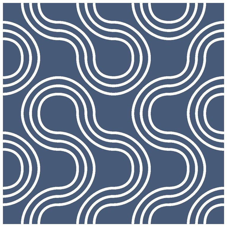 Mamma Screen Printed Wallpaper in Maritime 'White on Navy Blue' For Sale