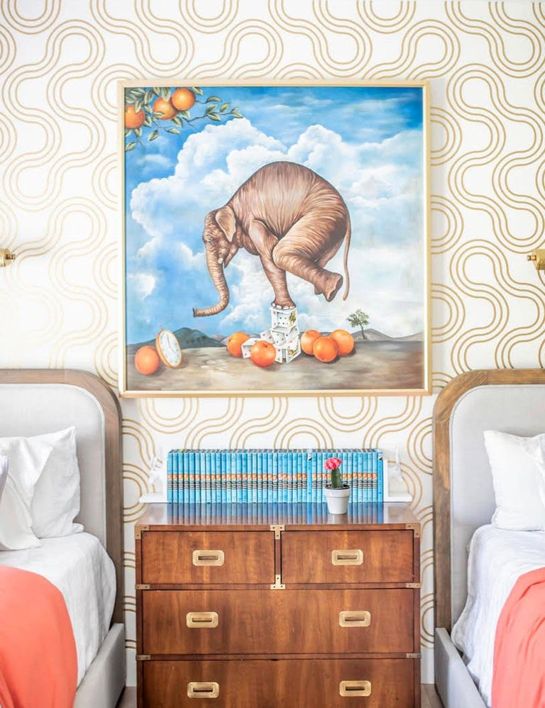 American Mamma Designer Wallpaper in Sphinx 'Metallic Gold on Soft White' For Sale