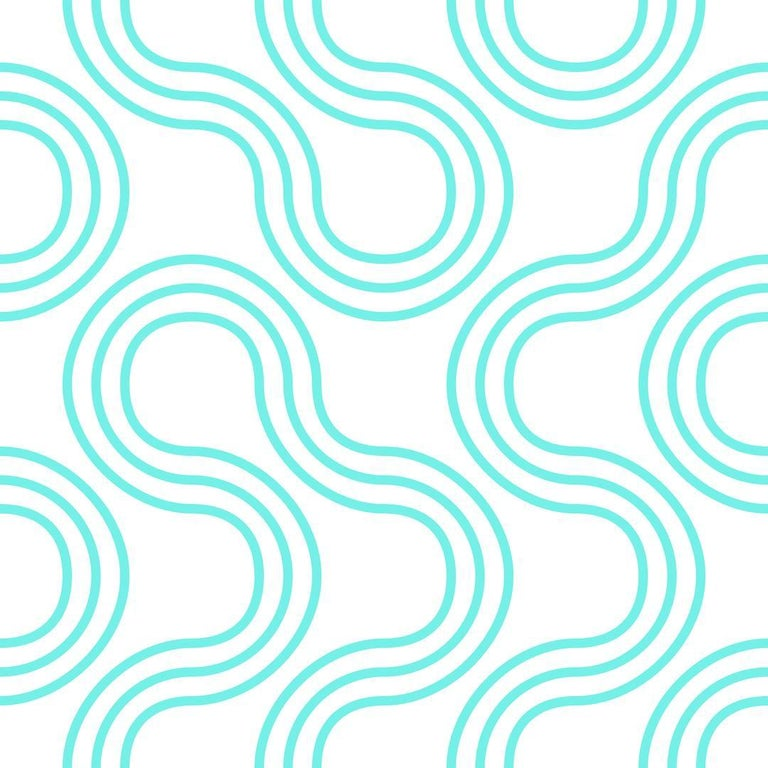 Mamma Screen Printed Wallpaper In Color Tulum Bright Teal On Soft White
