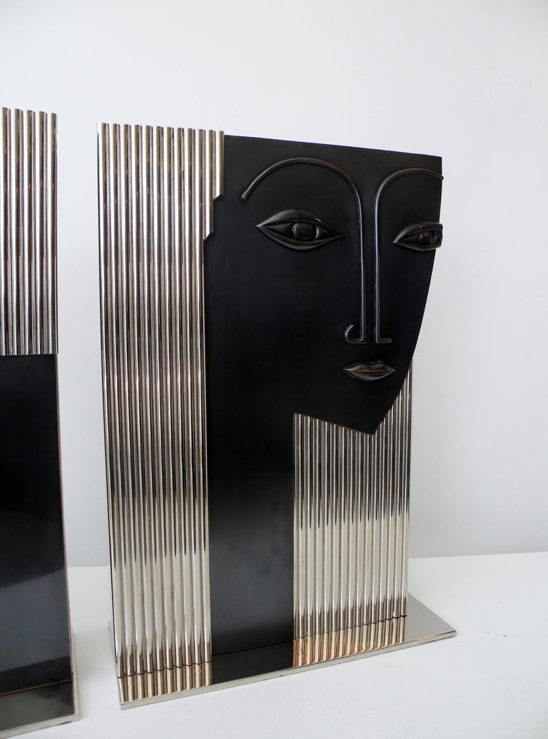 Mid-Century Modern Man and Woman Face Vases Art Deco Style after Franz Hagenauer For Sale