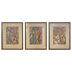 Man and Woman Figurative Water Color Paintings, a Group of 3