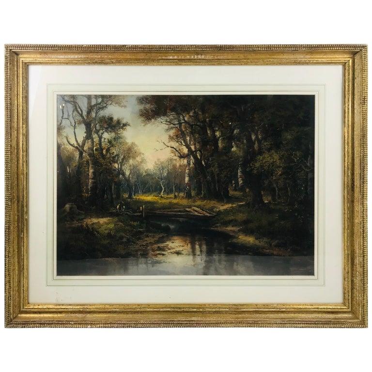 """""""Man Gathering in Woods"""" Narcisse-Virgile Diaz de la Pena Gouache For Sale"""
