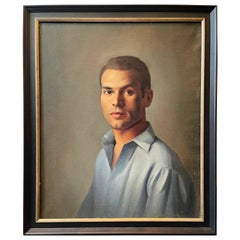 """""""Man in Blue,"""" Handsome Portrait of Young Man by Lucioni, Cadmus Contemporary"""