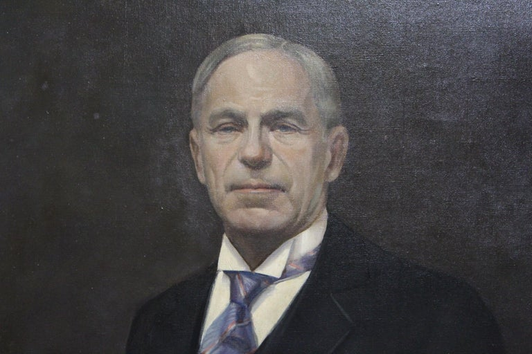 Large oil on canvas of mature gentleman in morning suit holding gloves. Signed by unknown artist, 1931.