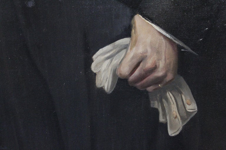 Man in Morning Suit with Gloves, Oil on Canvas In Good Condition For Sale In Geneva, IL
