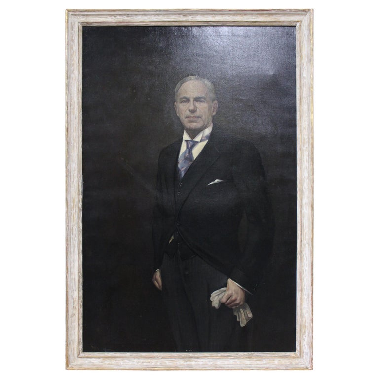Man in Morning Suit with Gloves, Oil on Canvas For Sale
