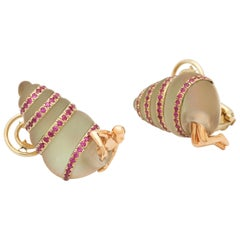 18K Rose Gold Pave Mother of Pearl Pink Sapphire Man in Shell Earrings