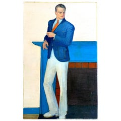 """Man in Summer Jacket,"" Elegant Depiction of 1930s Gentleman in White and Blue"