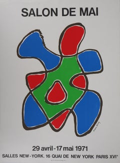 Salon de Mai : Abstract composition - Lithograph - 1971