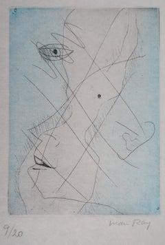 Surreaslist Portrait - Original handsigned etching (Anselmino #47)