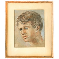 """Man with Blue Eyes,"" Portrait by Paul Cadmus, Possibly of Robert F. Kennedy"