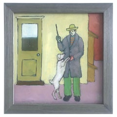 Man with Dog Oil Painting by Tom Gaines, 2003