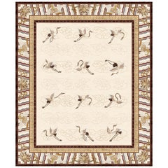 Manchurian Cranes Eggshell, Animalistic Ornament Hand Knotted Wool Silk Rug