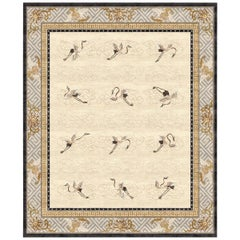 Manchurian Cranes Eggshell Hand-Knotted Wool and Silk 2.7 x 3.6m Rug