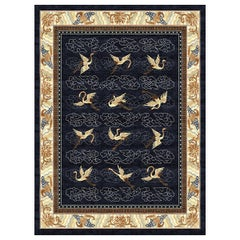 Manchurian Cranes Indigo Hand-Knotted Wool and Silk 2.5 x 3.0m Rug